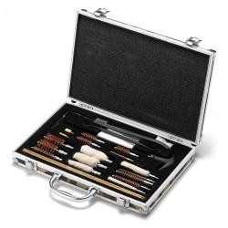 Kit de limpieza de más de 20 piezas en maletín de acero inoxidable para armas de distinto calibre lp017